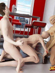 Two alien babes have a hot threesome with a hung - Picture 8