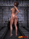 Fit brunette with hairy pussy poses sexily in abandoned sewer.