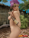 Purple-haired pixie in cute goggles gives great views of her naked body