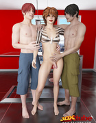 Shemale sheds her slutty striped top to take on two studs in the kitchen.