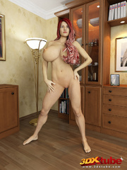 Redhead and busty babe poses nude in her study to - Picture 1