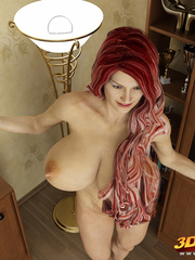 Redhead and busty babe poses nude in her study to - Picture 2