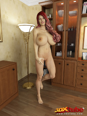 Redhead and busty babe poses nude in her study to - Picture 3