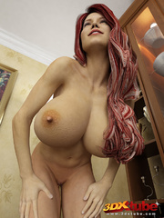 Redhead and busty babe poses nude in her study to - Picture 6