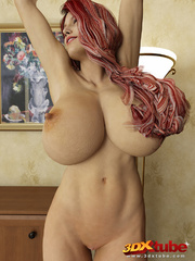 Redhead and busty babe poses nude in her study to - Picture 8