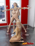 Busty blonde is tied, gets pole-fucked by another girl and guy!