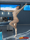 Wanton woman gets nearly naked in her office.