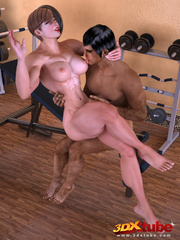 Big-titted babe have steamy sex in gym with exotic - Picture 3