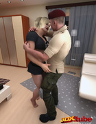 Soldier gets sucked and screwed by a foxy blonde on a small lounger.