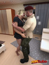 Sweet muscular blonde girl is fucked on bed by hung soldier!