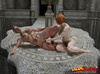 Two horny broads get it on in a majestic stone setting.