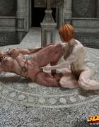Muscled lesbian couple have steamy floor sex in occult room!