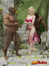 Pretty blonde elf princess is fucked by two bad, hung ogres.