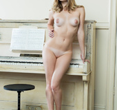 Musical young blonde models tasty tits, shaved pussy and sexy tight ass