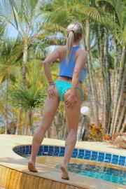 busty blonde blue bikini
