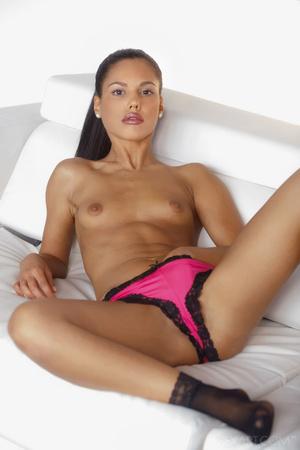 Brunette lady strips off her pink linger - XXX Dessert - Picture 3