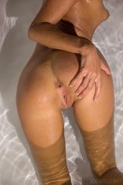 tanned blonde bathtub takes