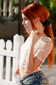 stunning redhead goes out