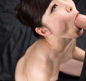 Short hair nude hottie on knees sucking hard cock for sticky slobby cum