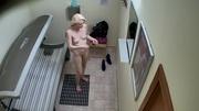 golden blonde stockings blue
