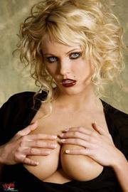 erotic blonde black top