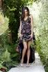 charming brunette colorful dress