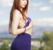 Sexy redhead in hot blue bra and skirt shows curvy booty and hairy cunt