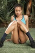 Sexy dreadlocks ebony in blue black lingerie shows tight ass and small