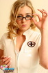 Dirty blonde in glasses and nurse uniform flaunts shaved cunt and big