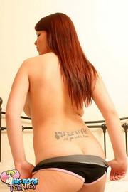 redhead black top panties