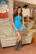 Hot tits brunette in blue dress drops drink to flaunt body and screw wine