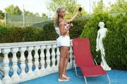 blonde cutie white shorts