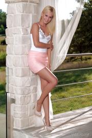 blonde beauty white lingerie