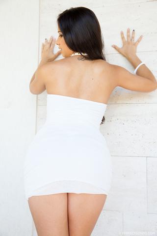 brunette babe takes white