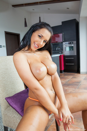 Brunette with huge tits smiles as she ge - XXX Dessert - Picture 12