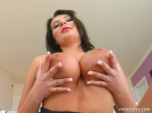 Blue-eyed brunette oils huge boobs in or - XXX Dessert - Picture 1