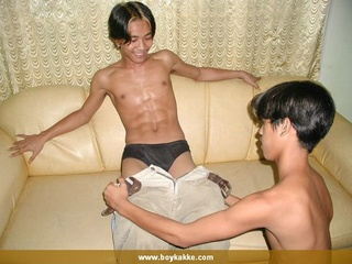 asian dudes pose topless