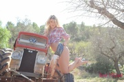 blonde farm girl teases