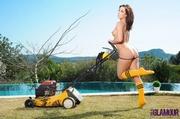 banging babe mows her