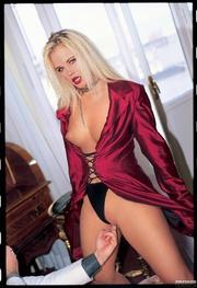 alluring blonde hottie teases