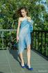 blonde blue heels bending