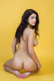 wonderful young brunette poses