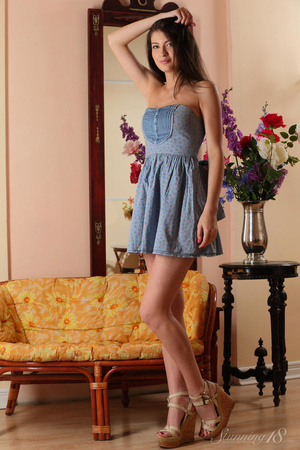 Brunette chick in blue dress takes it of - XXX Dessert - Picture 3