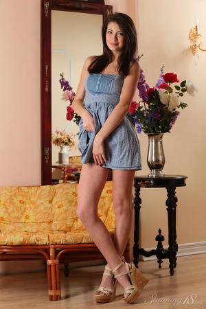 Brunette chick in blue dress takes it of - XXX Dessert - Picture 5