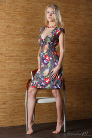 blonde floral dress undresses
