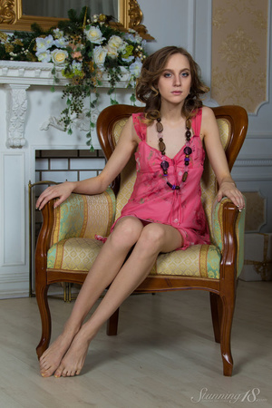 Brunette with blue eyes in a pink dress  - XXX Dessert - Picture 1