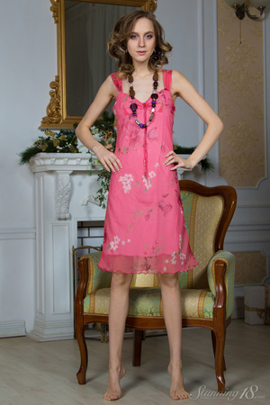 Brunette with blue eyes in a pink dress  - XXX Dessert - Picture 2