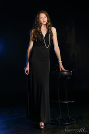 brunette black gown reaveal