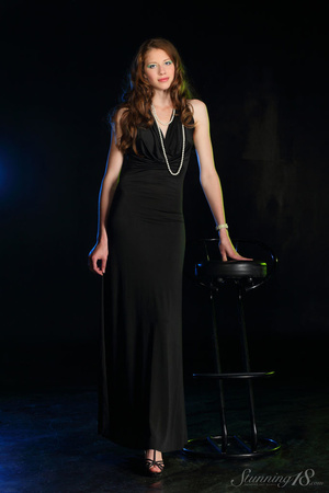 Brunette in black gown reaveal milky whi - XXX Dessert - Picture 1