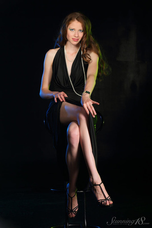 Brunette in black gown reaveal milky whi - XXX Dessert - Picture 3